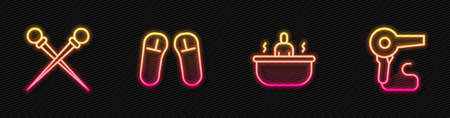 Set line Bathtub, Knitting needles, Slipper and Hair dryer. Glowing neon icon. Vector