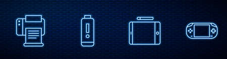 Set line Graphic tablet, Printer, Battery charge level indicator and Portable video game console. Glowing neon icon on brick wall. Vector Vectores