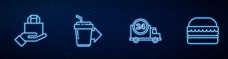 Set line Fast delivery by car, Online ordering and, Coffee cup to go and Burger. Glowing neon icon on brick wall. Vector
