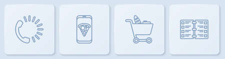 Set line Food ordering, Shopping cart and food, pizza and Restaurant cafe menu. White square button. Vector Vectores