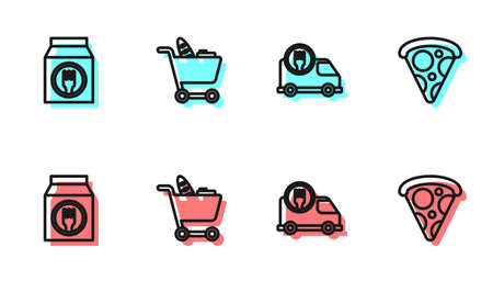 Set line Fast delivery by car, Online ordering and, Shopping cart food and Slice of pizza icon. Vector
