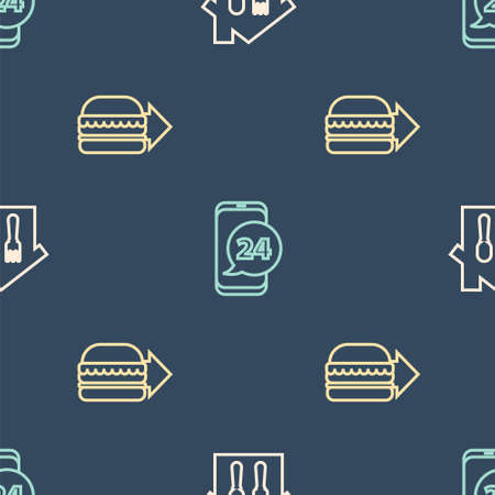 Set line Online ordering and delivery, burger and Food on seamless pattern. Vector