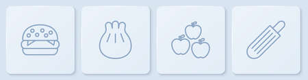 Set line Burger, Apple, Khinkali on cutting board and French hot dog. White square button. Vector