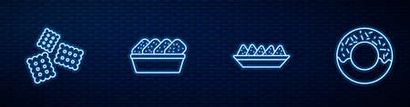 Set line Nachos in plate, Cracker biscuit, Chicken nuggets box and Donut. Glowing neon icon on brick wall. Vector