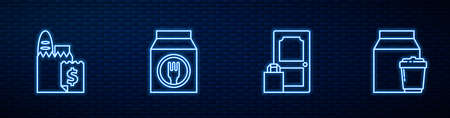 Set line Online ordering and delivery, , and . Glowing neon icon on brick wall. Vector