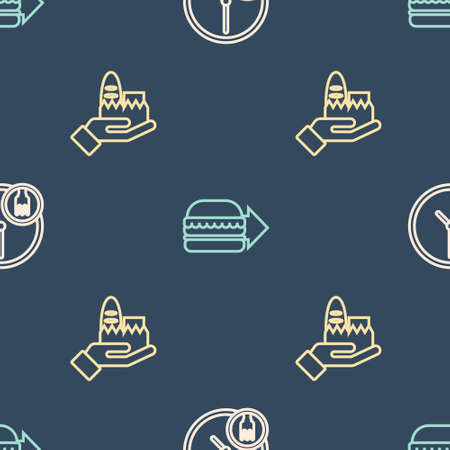 Set line Round the clock delivery, Online ordering and and burger on seamless pattern. Vector Vectores