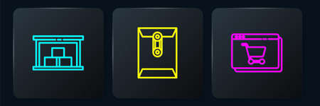 Set line Warehouse, Online shopping on screen and Envelope. Black square button. Vector
