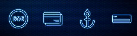 Set line Anchor, Location with SOS, Credit card and Air conditioner. Glowing neon icon on brick wall. Vector Illusztráció