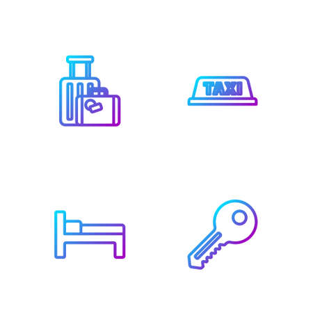 Set line Key, Bed, Suitcase and Taxi car roof. Gradient color icons. Vector Vectores