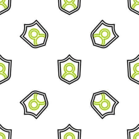Line User protection icon isolated seamless pattern on white background. Secure user login, password protected, personal data protection, authentication. Vector