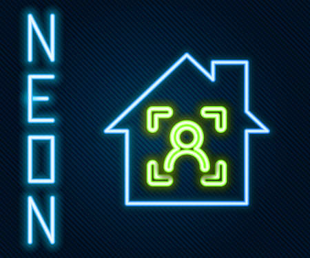 Glowing neon line Smart home with face recognition icon isolated on black background. Face identification scanner icon. Facial id. Cyber security concept. Colorful outline concept. Vector