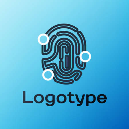 Line Fingerprint icon isolated on blue background. ID app icon. Identification sign. Touch id. Colorful outline concept. Vector