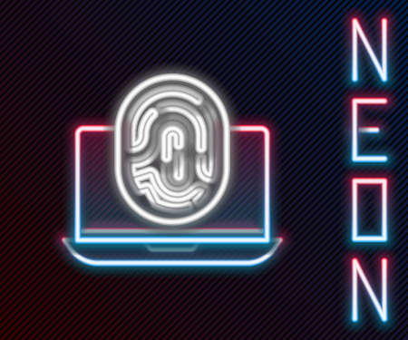 Glowing neon line Laptop with fingerprint icon isolated on black background. ID app icon. Identification sign. Touch id. Colorful outline concept. Vector