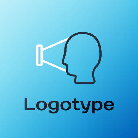 Line Face recognition icon isolated on blue background. Face identification scanner icon. Facial id. Cyber security concept. Colorful outline concept. Vector 矢量图像