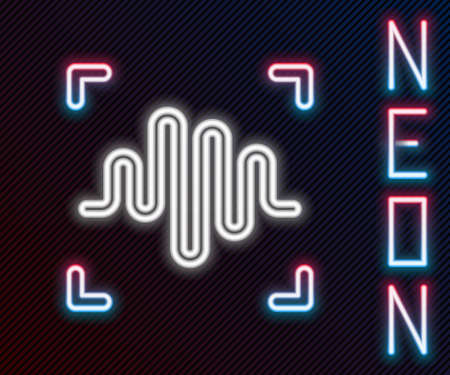 Glowing neon line Voice recognition icon isolated on black background. Voice biometric access authentication for personal identity recognition. Cyber security. Colorful outline concept. Vector