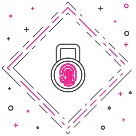 Line Fingerprint with lock icon isolated on white background. ID app icon. Identification sign. Touch id. Colorful outline concept. Vector 矢量图像