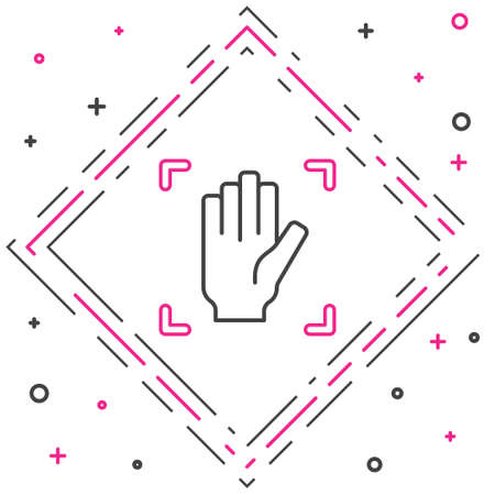 Line Palm print recognition icon isolated on white background. Biometric hand scan. Fingerprint identification. System recognition and verification. Colorful outline concept. Vector