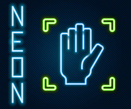 Glowing neon line Palm print recognition icon isolated on black background. Biometric hand scan. Fingerprint identification. System recognition and verification. Colorful outline concept. Vector