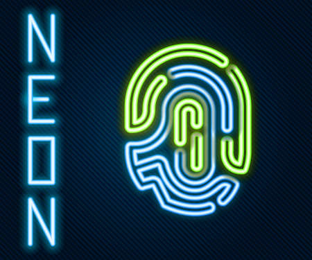 Glowing neon line Fingerprint icon isolated on black background. ID app icon. Identification sign. Touch id. Colorful outline concept. Vector 矢量图像