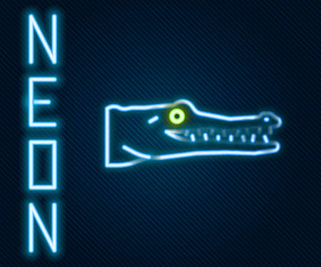 Glowing neon line Crocodile icon isolated on black background. Animal symbol. Colorful outline concept. Vector