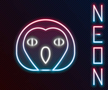 Glowing neon line Owl bird icon isolated on black background. Animal symbol. Colorful outline concept. Vector