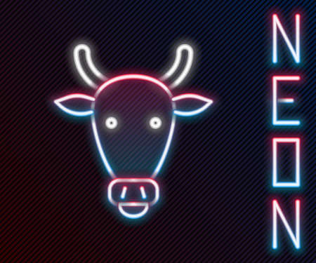Glowing neon line Cow head icon isolated on black background. Colorful outline concept. Vector