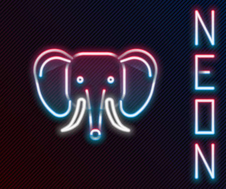 Glowing neon line Elephant icon isolated on black background. Colorful outline concept. Vector 矢量图像