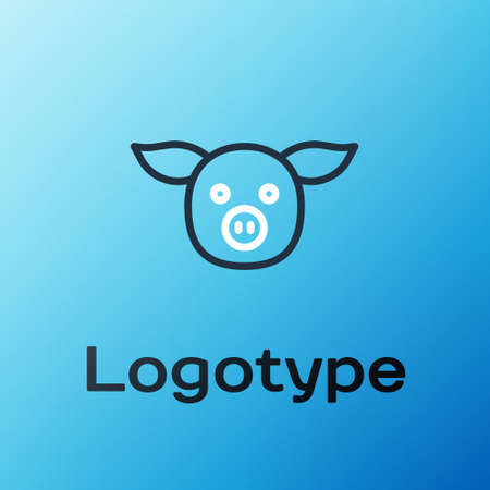 Line Pig icon isolated on blue background. Animal symbol. Colorful outline concept. Vector 矢量图像
