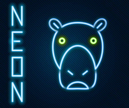Glowing neon line Hippo or Hippopotamus icon isolated on black background. Animal symbol. Colorful outline concept. Vector