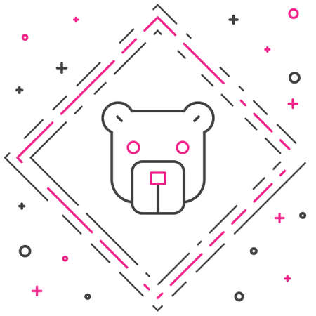 Line Bear head icon isolated on white background. Colorful outline concept. Vector