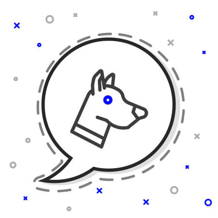 Line Dog head icon isolated on white background. Colorful outline concept. Vector