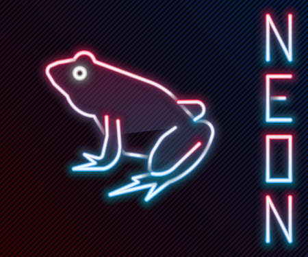 Glowing neon line Frog icon isolated on black background. Animal symbol. Colorful outline concept. Vector