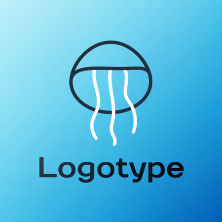 Line Jellyfish icon isolated on blue background. Colorful outline concept. Vector