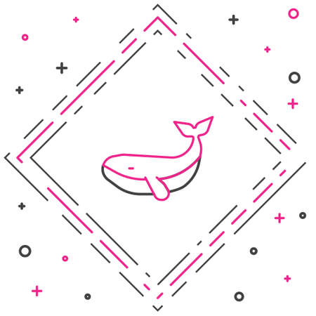Line Whale icon isolated on white background. Colorful outline concept. Vector