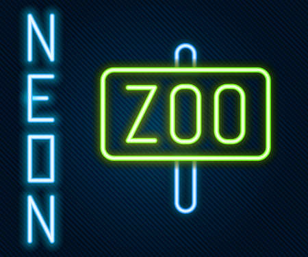 Glowing neon line Zoo park icon isolated on black background. Colorful outline concept. Vector