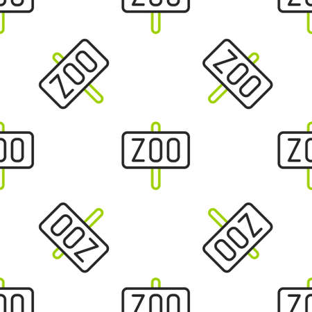 Line Zoo park icon isolated seamless pattern on white background. Vector 矢量图像