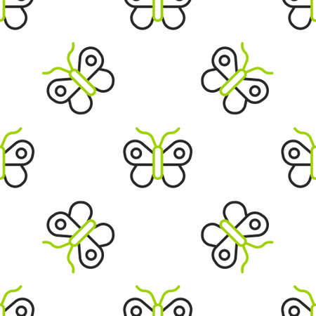 Line Butterfly icon isolated seamless pattern on white background. Vector 矢量图像