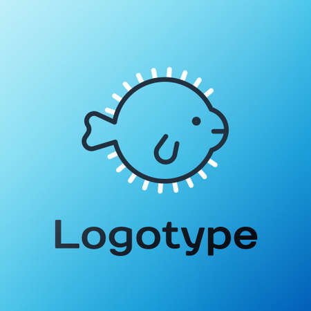 Line Puffer fish icon isolated on blue background. Fugu fish japanese puffer fish. Colorful outline concept. Vector