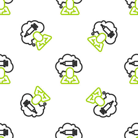 Line Addiction to the drug icon isolated seamless pattern on white background. Heroin, narcotic, addiction, illegal. Sick junkie with a syringe and medical pills. Vector