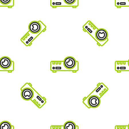 Line Presentation, movie, film, media projector icon isolated seamless pattern on white background. Vector