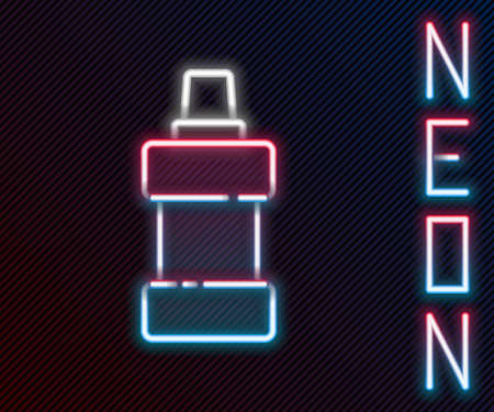 Glowing neon line Plastic bottle for laundry detergent, bleach, dishwashing liquid or another cleaning agent icon isolated on black background. Colorful outline concept. Vector