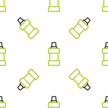 Line Plastic bottle for laundry detergent, bleach, dishwashing liquid or another cleaning agent icon isolated seamless pattern on white background. Vector Illusztráció