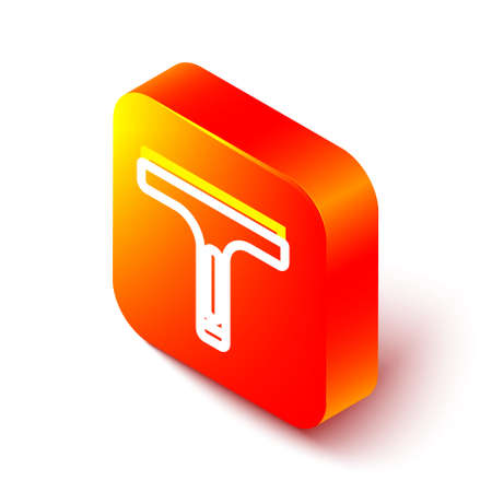 Isometric line Cleaning service with of rubber cleaner for windows icon isolated on white background. Squeegee, scraper, wiper. Orange square button. Vector