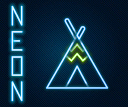 Glowing neon line Traditional indian teepee or wigwam icon isolated on black background. Indian tent. Colorful outline concept. Vector