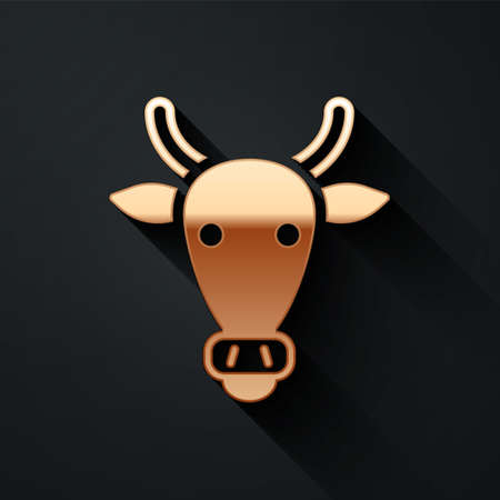 Gold Cow head icon isolated on black background. Long shadow style. Vector