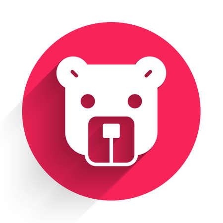 White Bear head icon isolated with long shadow. Red circle button. Vector 向量圖像
