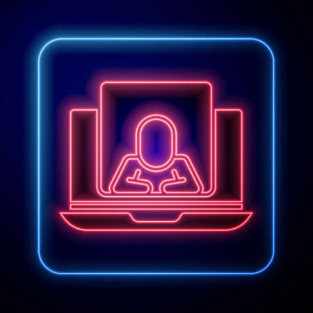 Glowing neon Online psychological counseling distance icon isolated on blue background. Psychotherapy, psychological help, psychiatrist online consulting. Vector