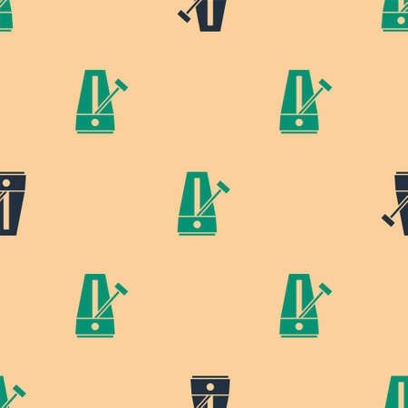 Green and black Classic Metronome with pendulum in motion icon isolated seamless pattern on beige background. Equipment of music and beat mechanism. Vector