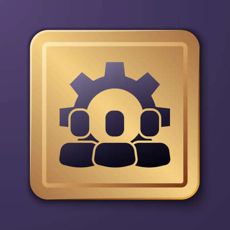 Purple Project team base icon isolated on purple background. Business analysis and planning, consulting, team work, project management. Gold square button. Vector Illusztráció
