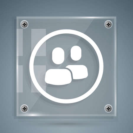 White Project team base icon isolated on grey background. Business analysis and planning, consulting, team work, project management. Square glass panels. Vector Illusztráció